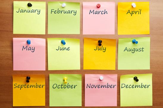 Название месяцев года по-английски